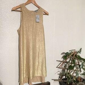 NWT OLIVIA SKY GOLD SPARKLE MOTION DRESS